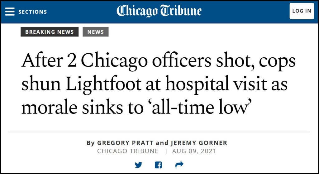 Chicago Tribune   Officers Shun Mayor at Hospital