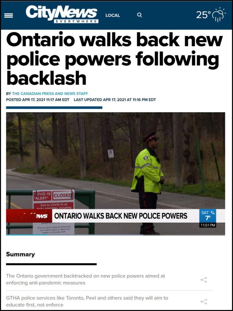 Pandemic Restrictions Enforcement - Ontario