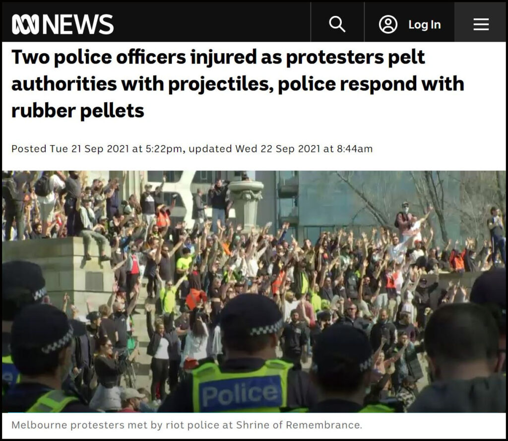 ABC.Net.au.Two police officers injured as protesters pelt authorities with projectiles, police respond with rubber pellets
