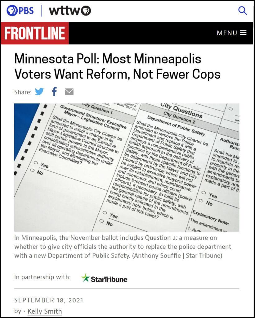 PBS/Star Tribune - Polling on Minneapolis Police