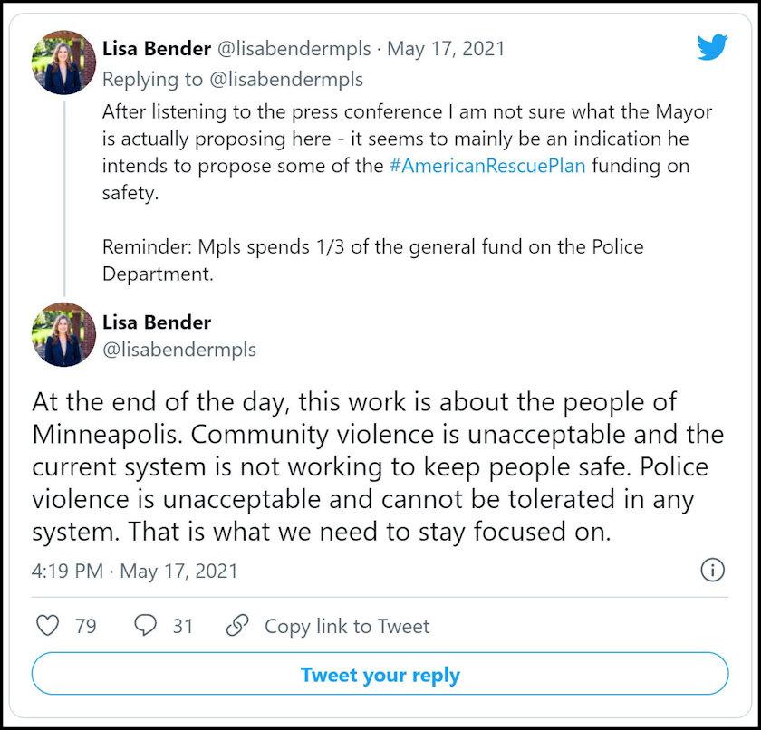 Twitter Minneapolis City Council President Lisa Bender