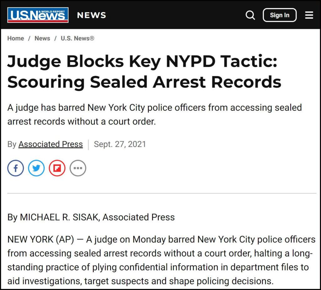 USNWR Judge Blocks Key NYPD Tactic